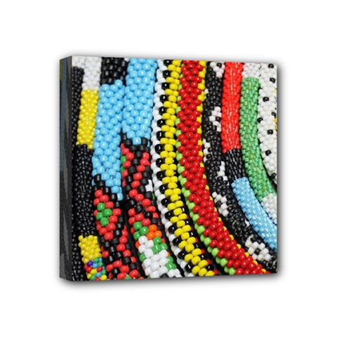 Multi Colored Beaded Background 4  X 4  Framed Canvas Print