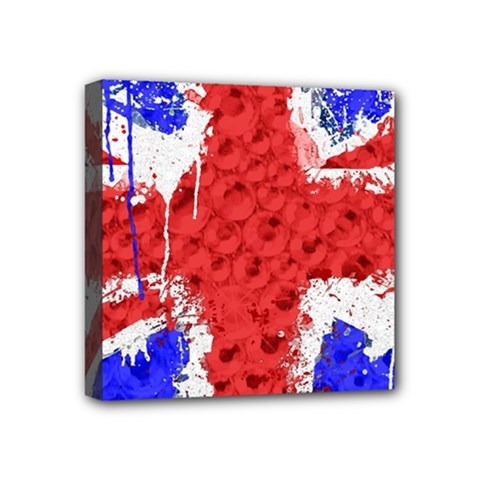 Distressed British Flag Bling 4  x 4  Framed Canvas Print