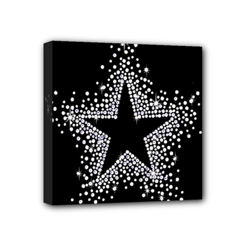 Sparkling Bling Star Cluster 4  X 4  Framed Canvas Print