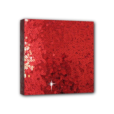 Sequin and Glitter Red Bling 4  x 4  Framed Canvas Print