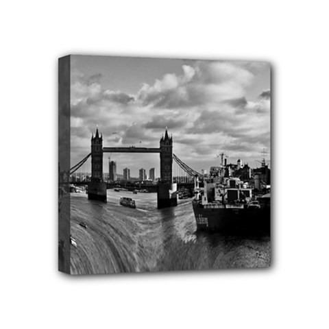 River Thames Waterfall 4  x 4  Framed Canvas Print