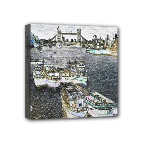 River Thames Art 4  x 4  Framed Canvas Print