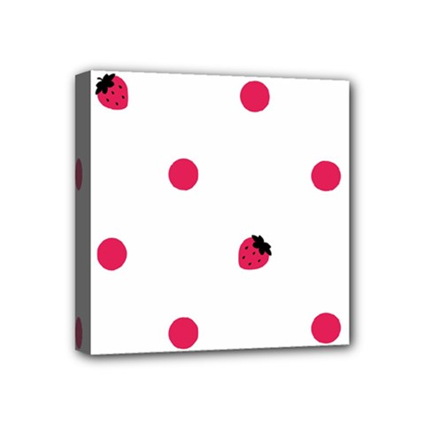 Strawberry Dots Pink Mini Canvas 4  X 4  (stretched)