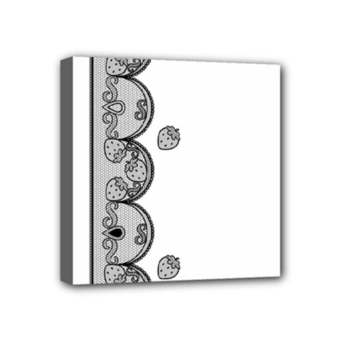 Lace White Dots White With Black Mini Canvas 4  X 4  (stretched)