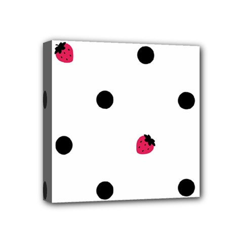 Strawberry Dots Black Mini Canvas 4  x 4  (Stretched)