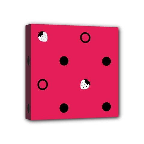 Strawberry Dots Black With Pink Mini Canvas 4  x 4  (Stretched)