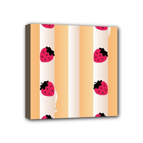 Origin Strawberry Cream Cake Mini Canvas 4  x 4  (Stretched)