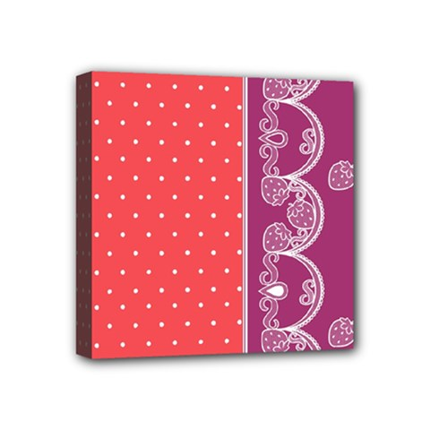 Lace Dots With Violet Rose Mini Canvas 4  x 4  (Stretched)