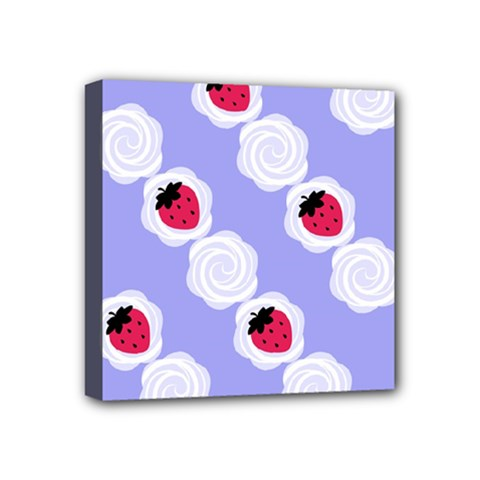 Cake Top Blueberry Mini Canvas 4  X 4  (stretched)