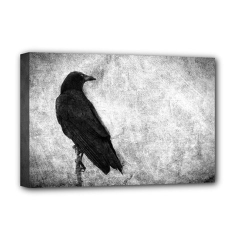 Black Crow Deluxe Canvas 18  x 12  (Stretched)