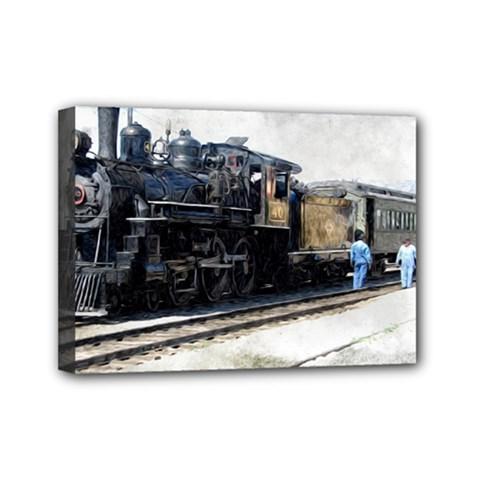 The Steam Train 5  X 7  Framed Canvas Print