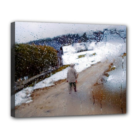 rainy day, Austria 11  x 14  Framed Canvas Print