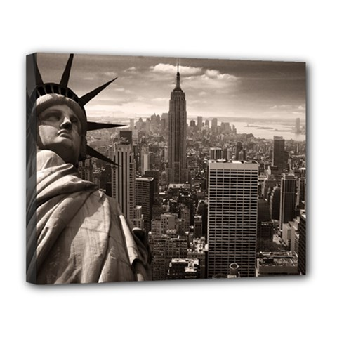 Statue of Liberty, New York 11  x 14  Framed Canvas Print