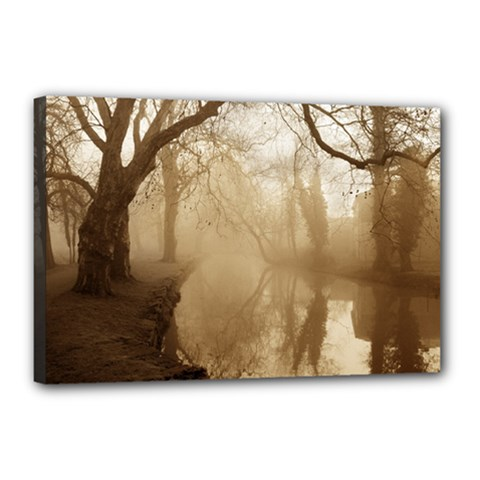 Misty Morning 12  X 18  Framed Canvas Print