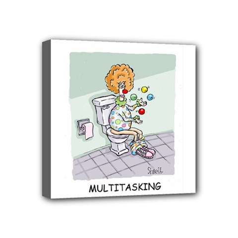 Multitasking Clown 4  x 4  Framed Canvas Print