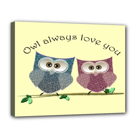Owl always love you, cute Owls 11  x 14  Framed Canvas Print