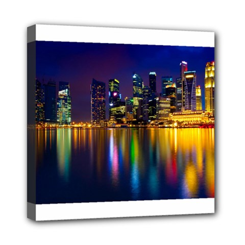 Night View 8  x 8  Framed Canvas Print