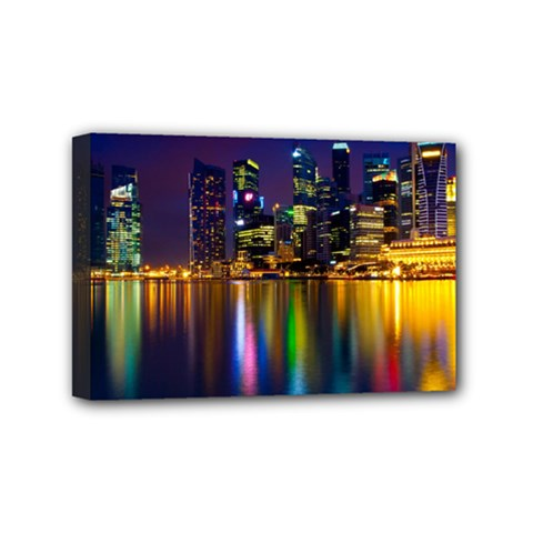 Night View 4  x 6  Framed Canvas Print
