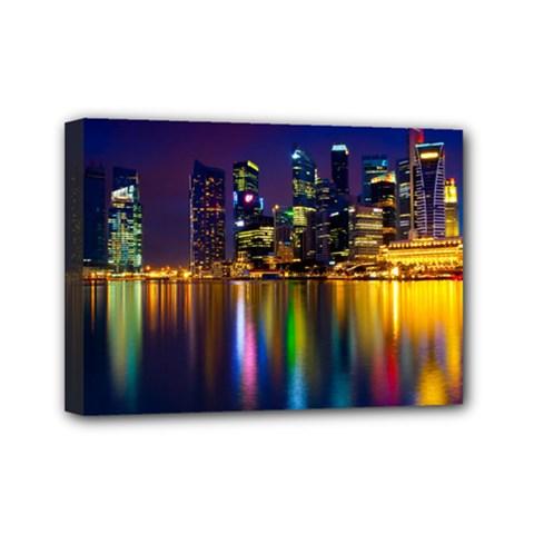 Night View 5  x 7  Framed Canvas Print