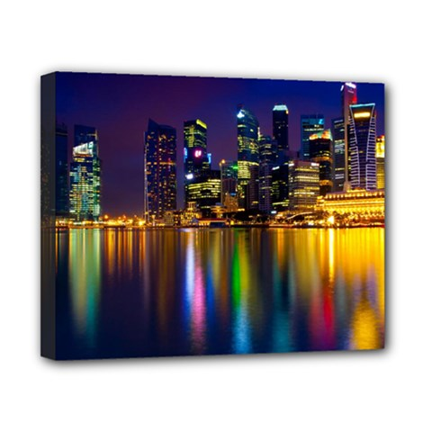 Night View 8  X 10  Framed Canvas Print