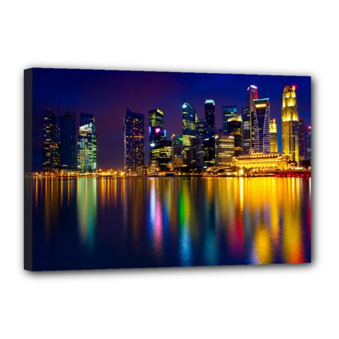 Night View 12  x 18  Framed Canvas Print