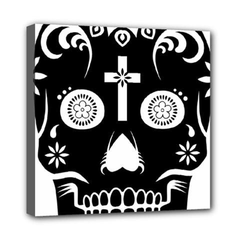 Sugar Skull Mini Canvas 8  X 8  (framed)
