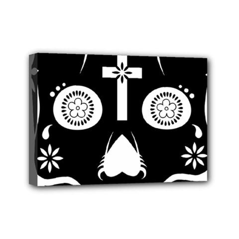 Sugar Skull Mini Canvas 7  X 5  (framed)