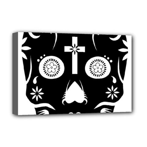 Sugar Skull Deluxe Canvas 18  x 12  (Framed)