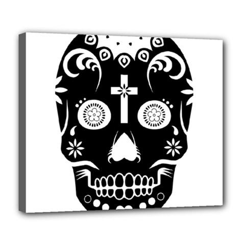 Sugar Skull Deluxe Canvas 24  x 20  (Framed)