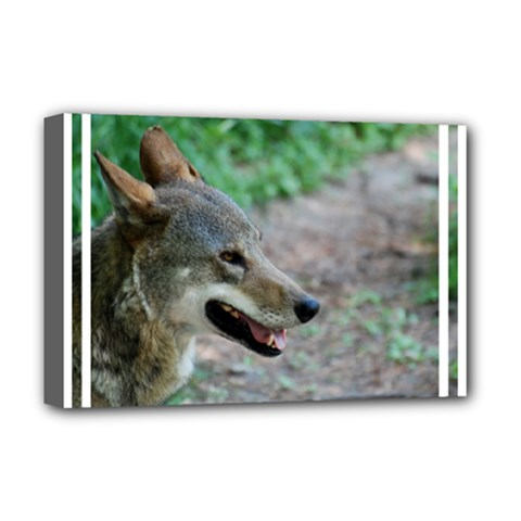 Red Wolf Deluxe Canvas 18  x 12  (Framed)