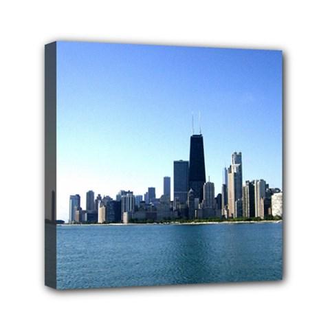 Chcago Skyline Mini Canvas 6  x 6  (Framed)