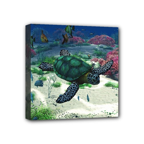 Sea Turtle Mini Canvas 4  X 4  (stretched)