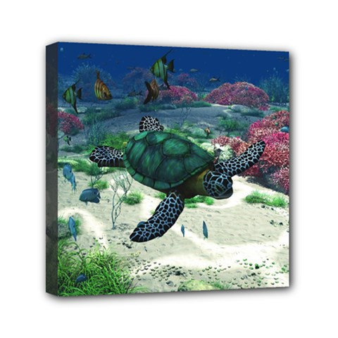 Sea Turtle Mini Canvas 6  X 6  (stretched)