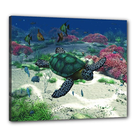 Sea Turtle Canvas 24  X 20  (stretched)