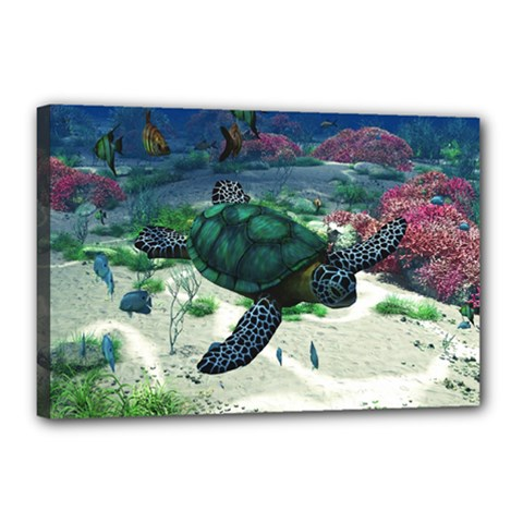 Sea Turtle Canvas 18  x 12  (Stretched)