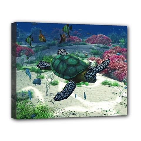 Sea Turtle Deluxe Canvas 20  x 16  (Framed)