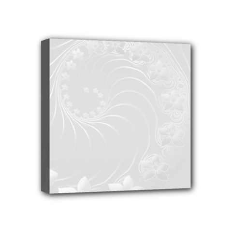Light Gray Abstract Flowers Mini Canvas 4  x 4  (Framed)