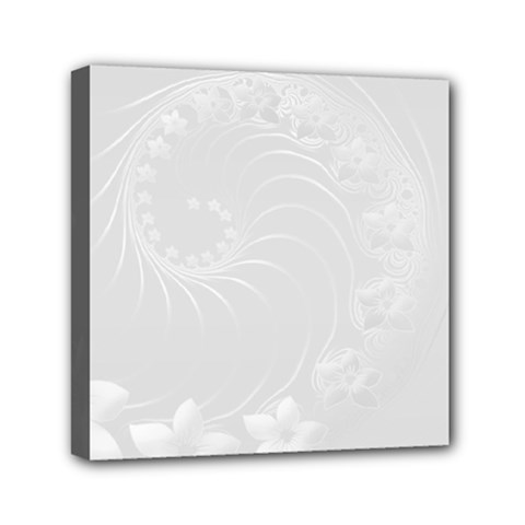 Light Gray Abstract Flowers Mini Canvas 6  X 6  (framed)