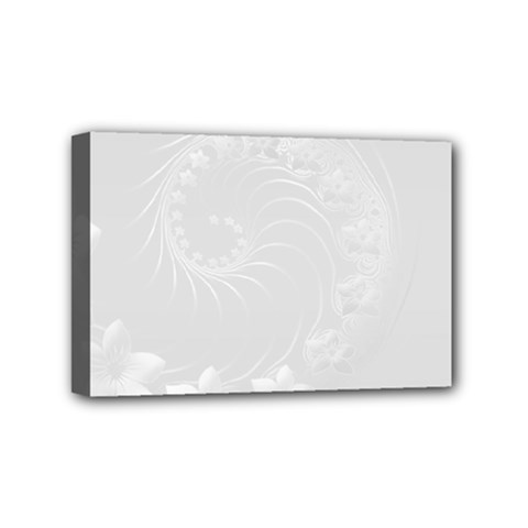 Light Gray Abstract Flowers Mini Canvas 6  X 4  (framed)