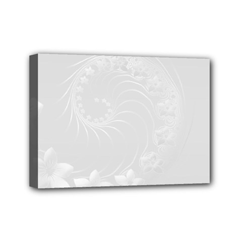 Light Gray Abstract Flowers Mini Canvas 7  x 5  (Framed)