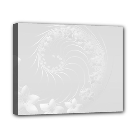 Light Gray Abstract Flowers Canvas 10  x 8  (Framed)