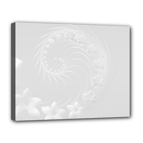 Light Gray Abstract Flowers Canvas 14  x 11  (Framed)