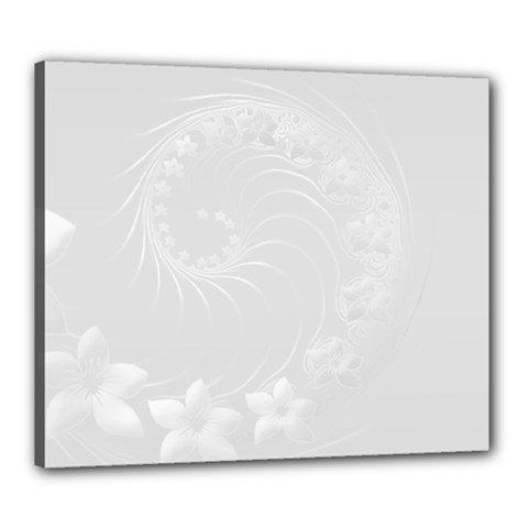 Light Gray Abstract Flowers Canvas 24  x 20  (Framed)