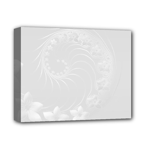 Light Gray Abstract Flowers Deluxe Canvas 14  X 11  (framed)