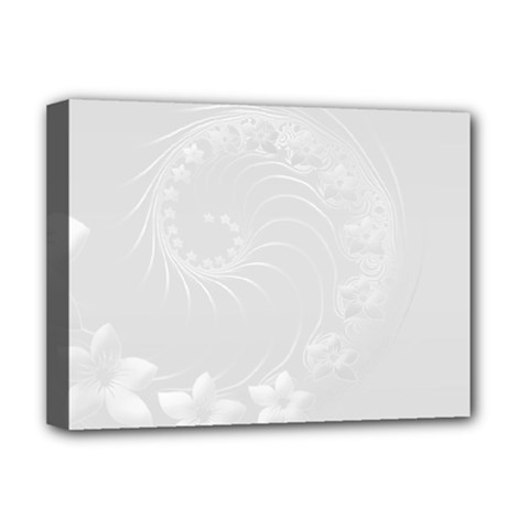 Light Gray Abstract Flowers Deluxe Canvas 16  x 12  (Framed)
