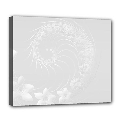 Light Gray Abstract Flowers Deluxe Canvas 24  x 20  (Framed)