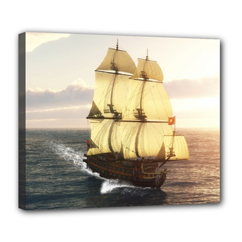 French Warship Deluxe Canvas 24  x 20  (Framed)