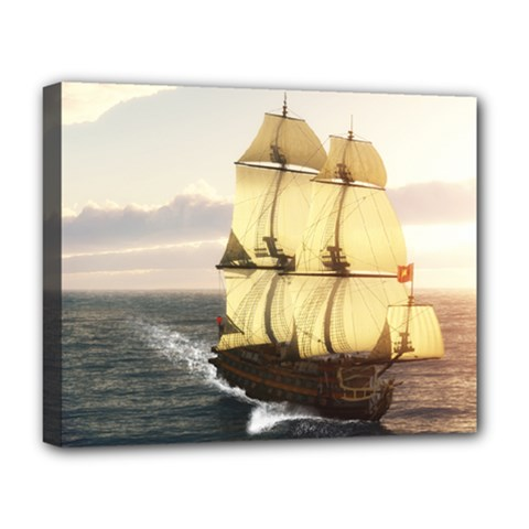 French Warship Deluxe Canvas 20  x 16  (Framed)