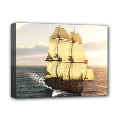 French Warship Deluxe Canvas 16  x 12  (Framed)