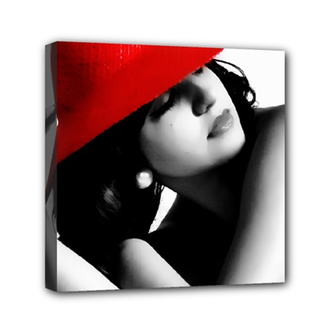Red Hat Mini Canvas 6  X 6  (framed)